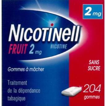 NICOTINELL 2MG GOMME FRUI SS SUCRE