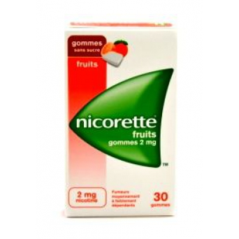 NICORETTE 2MG GOMME FRUI SS SUCRE